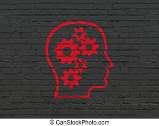 Business concept: Head With Gears on wall background