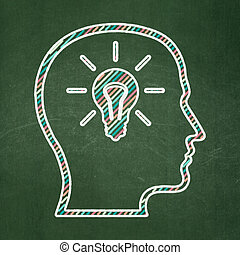 Business concept: Head With Lightbulb on chalkboard background