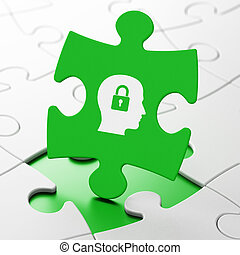 Business concept: Head With Padlock on puzzle background