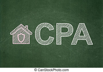 Business concept: Home and CPA on chalkboard background -...