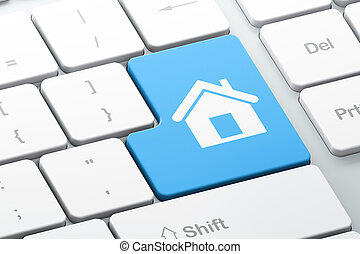 Business concept: Home on computer keyboard background