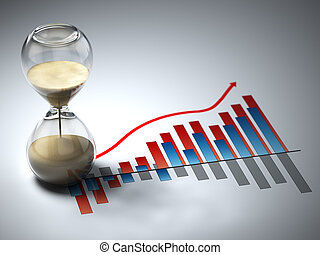 Business concept. Hourglass and graph. Three-dimensional...