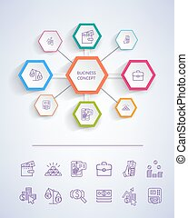 Business Concept Icons on Vector Illustration