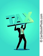 businessman lifting a big block font with the word tax