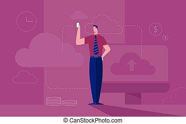 Business concept illustration of a businessman sits on cloud symbol working with laptop computer with binary numbers as the background.
