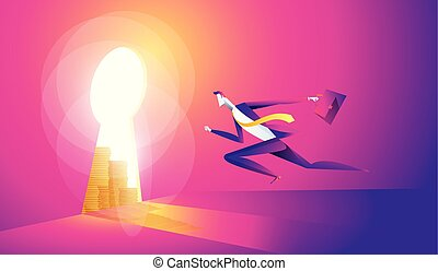 Business concept illustration of a businessman walking into keyhole with dollar icon.