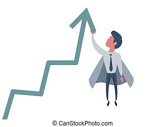 Business concept illustration of a superhero businessman taking the graphic chart high up