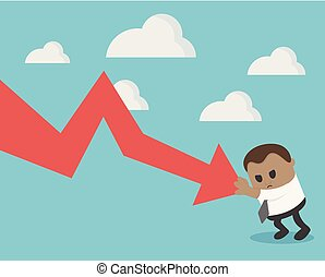Business concept illustration of businessman fall down