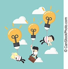 Business concept illustration of three businessman holding a floating light bulb