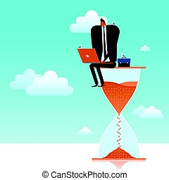 business concept illustration, suited man working on a giant...