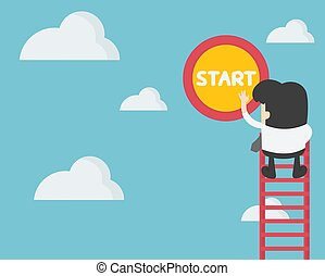 Business concept illustration young businessman climbing a ladder to press the start button