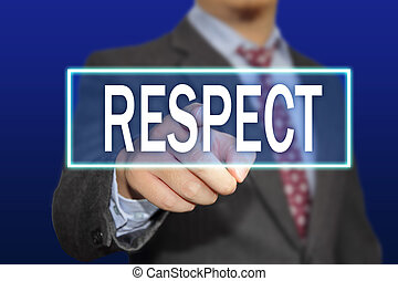 Respect - Business concept image of a businessman clicking ...