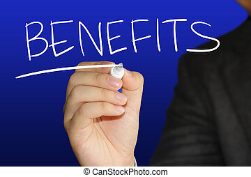 Business concept image of a hand holding marker and write Benefits over blue background