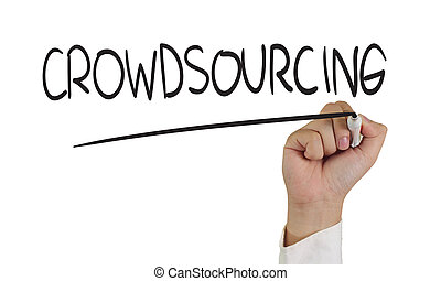 Crowdsourcing - Business concept image of a hand holding ...