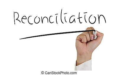 Business concept image of a hand holding marker and write Reconciliation isolated on white