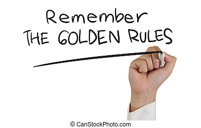 Remember the Golden Rules - Business concept image of a hand...
