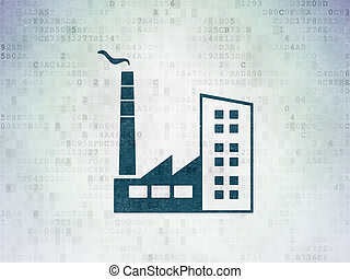 Business concept: Industry Building on Digital Data Paper background