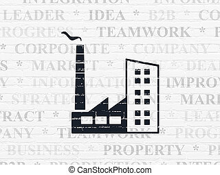 Business concept: Industry Building on wall background