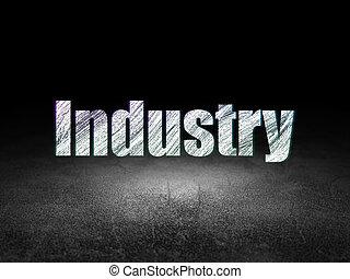Business concept: Industry in grunge dark room