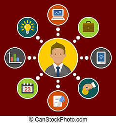 Business Concept Infographic Design Elements in Flat Style. Vector