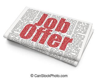 Business concept: Job Offer on Newspaper background
