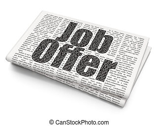 Business concept: Job Offer on Newspaper background