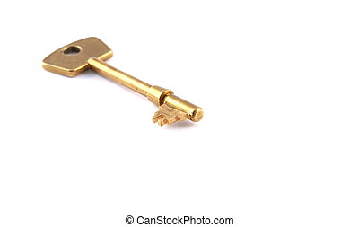 Business concept - key - Macro view of a key on a white...