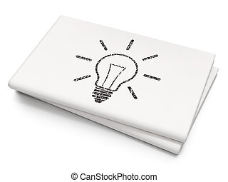 Business concept: Light Bulb on Blank Newspaper background
