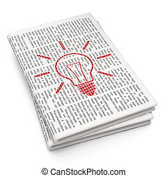Business concept: Light Bulb on Newspaper background