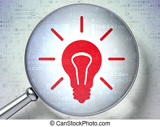 Business concept: Light Bulb with optical glass on digital background