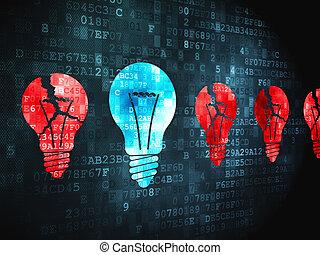 Business concept: Lightbulb on digital background
