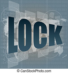 business concept lock word on digital screen with world map