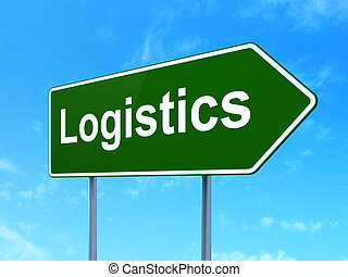 Business concept: Logistics on road sign background