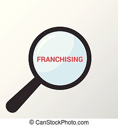Business Concept: Magnifying Optical Glass With Words Franchising