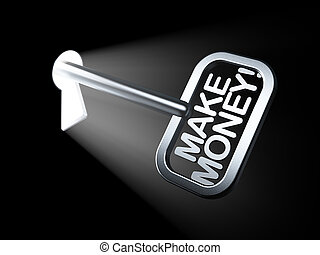 Business concept: Make Money! on key