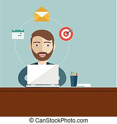 Business concept - man sitting at the table and working on the computer in the office. Vector illustration, flat style