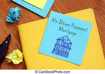 Business concept meaning No Down Payment Mortgage with inscription on the sheet.
