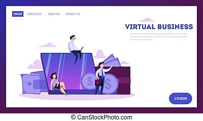 business, concept., moderne, virtuel, technologie internet