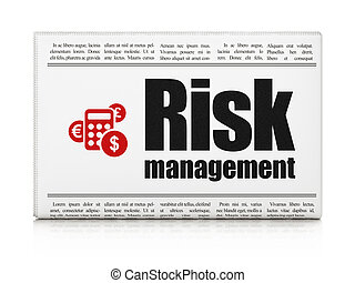 Business concept: newspaper with Risk Management and Calculator