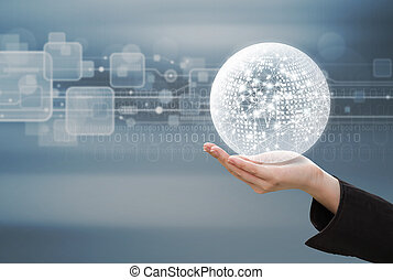 Business concept of business woman hand holding global network design on technology background
