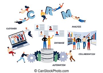 Business Concept of CMR, Customer, Analysis, Database, Collaboration, Automation and Management.