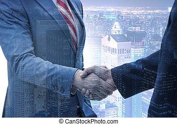 Business concept of cooperation with handshake