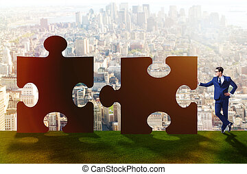 Business concept of puzzles for teamwork
