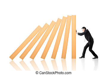 stop the domino effect - Business concept of stop the domino...