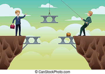 A vector illustration of business concept of two businessmen trying to build a bridge in between cliffs