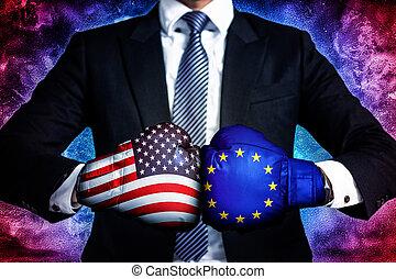 business Concept of trade war between USA and EU