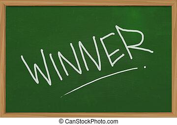 Winner - Business concept of Winner word written with chalk ...