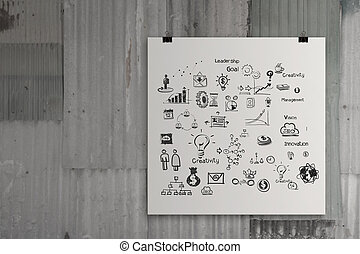 business concept on poster composition wall background