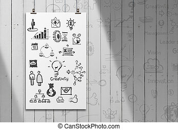 business concept on poster wall background
