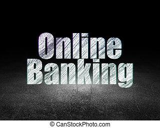 Business concept: Online Banking in grunge dark room
